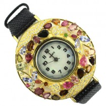 Adorable Sterling Silver Ladies' Wrist Watch with Tourmaline & Leather Band