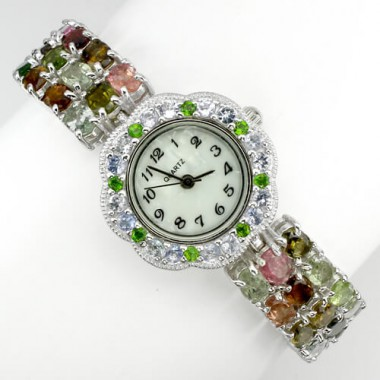 jewelry stelrling silver womens wrist watch with natural fancy tourmaline, tsavorite & tanzanite