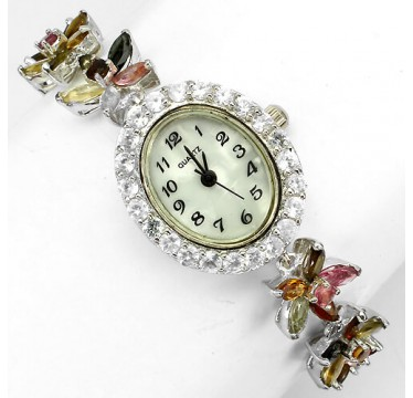 deluxe sterling silver jewellery ladies watch with natural fancy tourmaline & white topaz