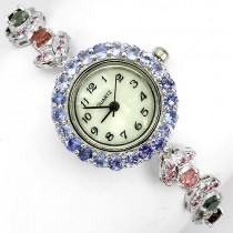 delightful 925 sterling silver jewelry ladies watch with genuine tourmaline, tanzanite & ruby