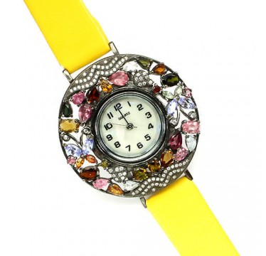 Natural Fancy Tourmaline, Tanzzanite & CZ Silver and Leather Women's Watch