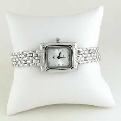 Rectangle Dial Sterling Silver Plain Jewelry Wristwatch for Ladies