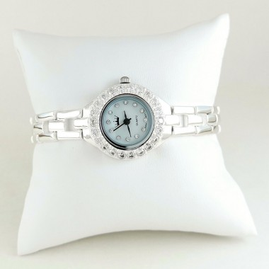 Cute Sterling Silver Ladies' Wristwatch with CZ Stones Around Dial