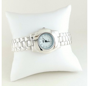 Classic Style Solid 925 Silver Wristwatch with Bracelet for Ladies