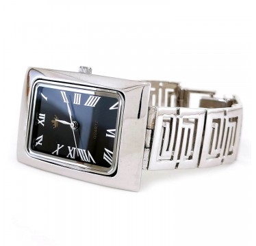 Unisex Solid Sterling Silver Wristwatch with Rectangle Dial & Patterns