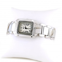 Rectangle Face Solid Sterling Silver Women's Watch without Stones